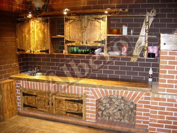 Кухонный гарнитур из массива. Артикул: веб-00006