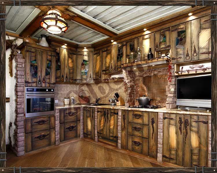 Кухня из массива дерева. Артикул: веб-00023