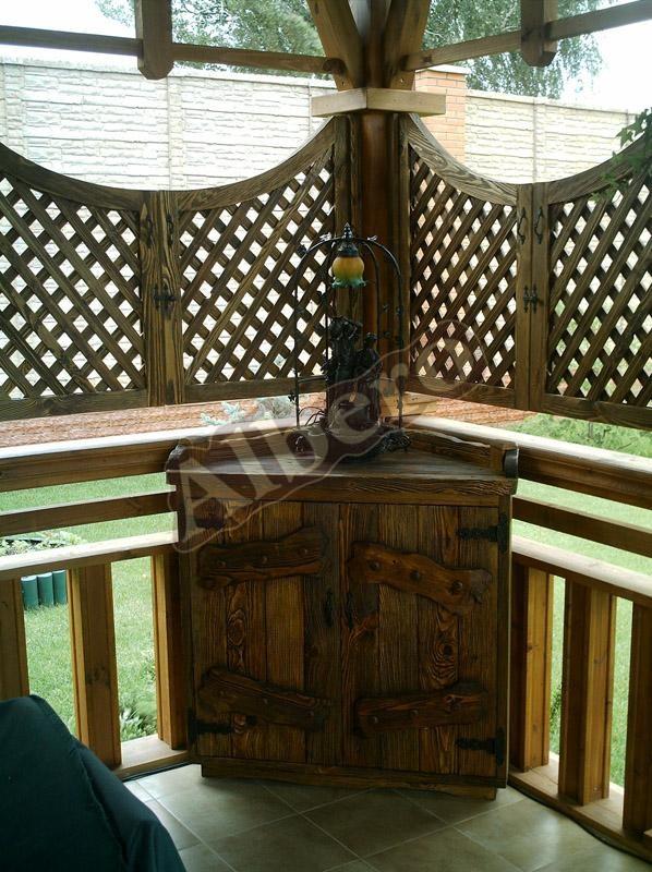 Шкафчик для беседки, веранды из массива дерева. Артикул: веб-00030
