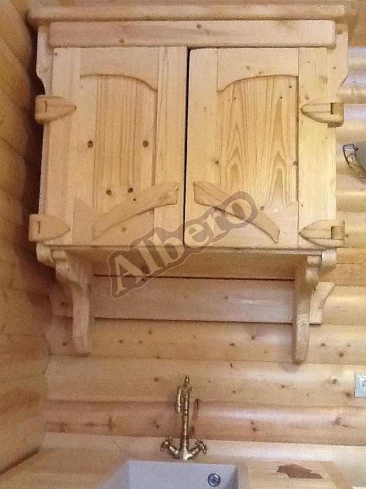 Навесной шкаф из массива дерева. Артикул: веб-00034