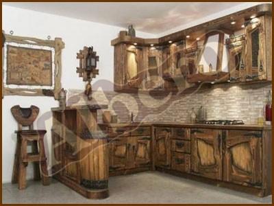 Кухонный гарнитур из массива дерева. Артикул: веб-00036