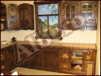 Кухонный гарнитур из массива дерева. Артикул: веб-00039