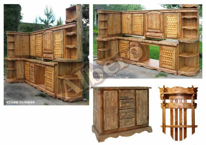 Кухня угловая из массива дерева. Артикул: веб-00041