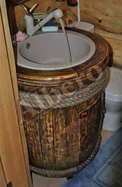Умывальник-бочка из массива дерева. Артикул: веб-00045